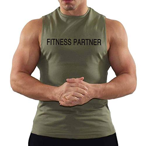 Herren Tank Top Bodybuilding Slim fit T Shirt Muskelshirt Sommer Top Modern Baumwolle Business Shirts Sport Fitness Oberteile Party Strand Oberteil Outdoor Hemden Urlaub Tee(Grün.M)