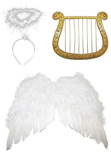 Engel Set 3-tlg. für Weihnachten - Klein Flügelbreite 40 cm - Engelsflügel, Heiligenschein und Harfe