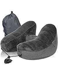 Inflatable Soft Travel Pillow/Neck Pillow, Air Inflate/Push-Button, Auto Deflate, Premium Soft Plush Fabric Neck Rest with Multiple Positions for Sleep & Relaxation on Plane, Car and Train. Free Carry Bag