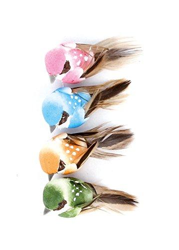 artemio-13001026-lot-de-4-oiseaux-avec-fil-metal-mousseline-multicolore-7-x-15-x-135-cm
