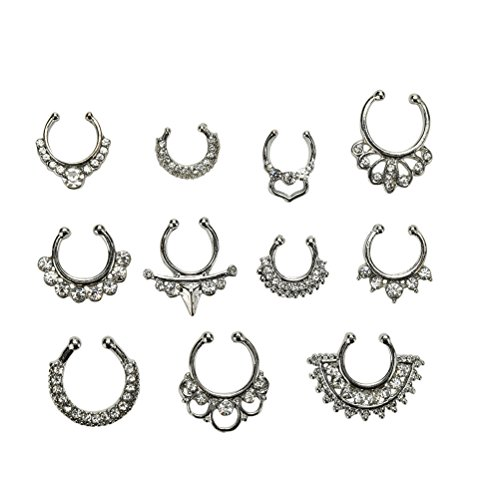 smilucky 11pcs fake septum clicker nasenring strass non piercing hanger clip silber. Black Bedroom Furniture Sets. Home Design Ideas