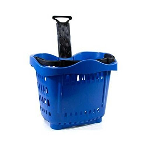 Cestino trolley spesa plastica su ruote maniglia telescopica lt.43 per arredo supermercati e forniture negozi dimensioni .533x380x425h. Cesto utile