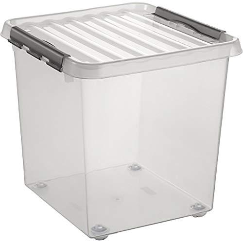 Fuerte y apilable Storage King Pack de 3 Cajas de Almacenamiento de pl/ástico Transparente con Tapa Negra Grande pl/ástico 50 L