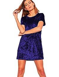 781d417f9935 LAIKETE Donna Abito in Velluto Maniche Corte Eleganti Moda Vestito Scollo a  Barca Estivi Ragazza Tumblr