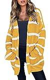 ECOWISH Damen Casual Strickjacke Gestreift V-Ausschnitt Cardigan Lose Pullover Langarm Outwear mit Taschen Herbst Winter Gelb S