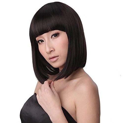 cheveux synthétique court droit chaleur Flapper Bob Cosplay Costume Party cheveux complet Perruques