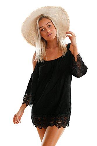 Schwarz Lacy Crochet Trim Crinkle kalte Schulter Beachwear Größe 36-38 (Lacy Leggings Für Frauen)