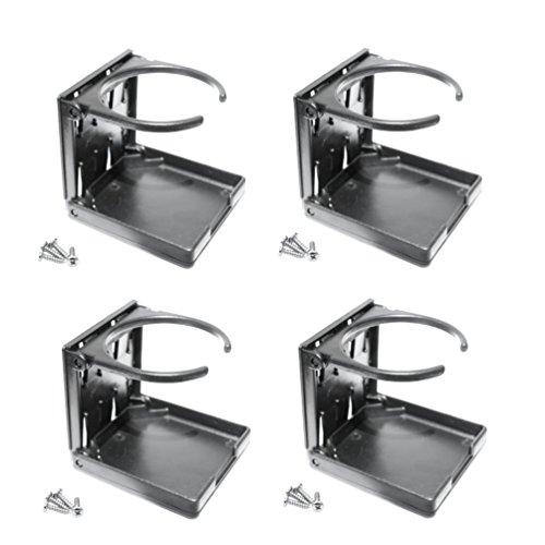 Versandbox24 4 Stück Getränkehalter klappbar Dosenhalter Flaschenhalter Becherhalter schwarz Boot KFZ Kunststoff