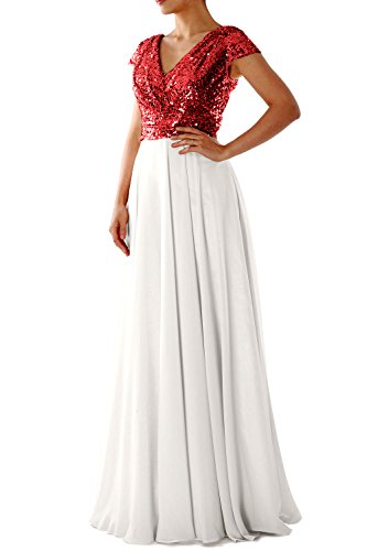 MACloth Cap Sleeve V Neck Sequin Chiffon Bridesmaid Dress Formal Evening Gown Red Ivory