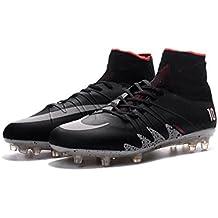 Para hombre Hypervenom Phantom II FG Botas de fútbol zapatos de fútbol negro de gran parte superior, hombre, negro, UK10.5/EUR45