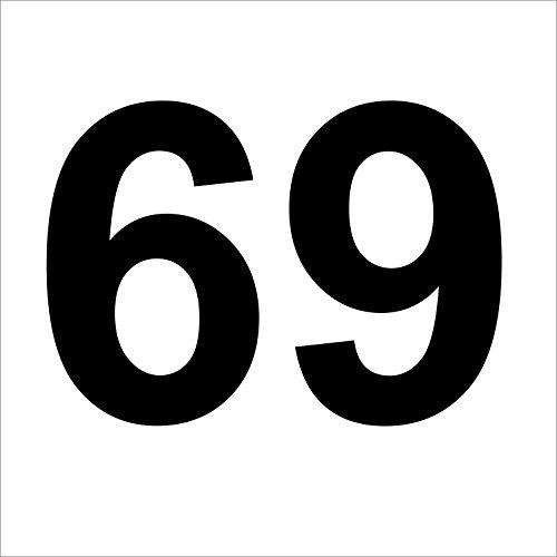 """Preisvergleich Produktbild 3 mal Nummer """"69 """" hochwertige Zahlenaufkleber,  schwarz,  wetterfeste,  20 cm hoch,  aus Hochleistungsfolie,  ohne Hintergrund,  Zahlen,  Nummer,  Mülltonne, Mülltonnen,  Uahlenaufkleber,  Hausnummer,  Briefkasten,  Aufkleber"""