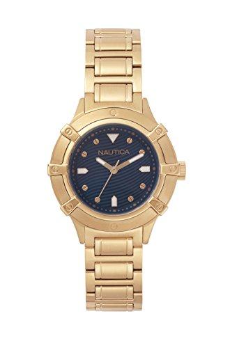 Nautica Damen Datum klassisch Quarz Uhr mit Edelstahl Armband NAPCPR005 (Silber Nautica Uhren)