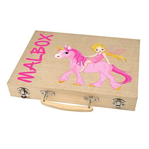 Malkoffer 'PAINT BOX 66' mit 11 Utensilien - 66-teiliges Malset für Schule und Co.: Der kompakte Malkasten im praktischen Holzkoffer!, Motiv:Motiv 02
