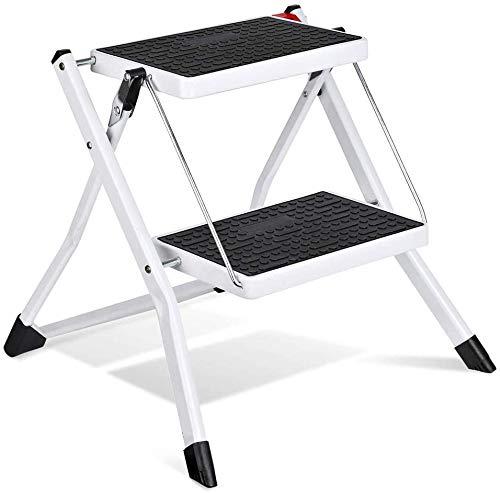 House day scaletta 2 gradini, scaletta pieghevole bianca con maniglia antiscivolo stepladder mini sgabello in acciaio robusto e largo, capacità di carico fino a 115 kg, 60 cm