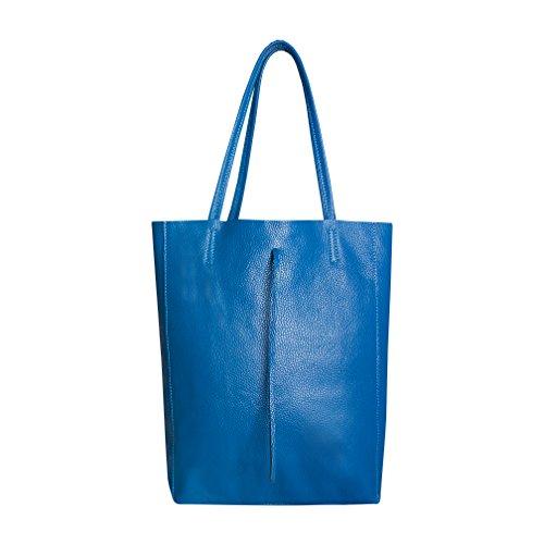 SKUTARI original Damen Leder Shopper Vittoria Jeansblau | Handtasche mit eingenähter Innentasche | Beuteltasche Tragetasche groß | 36 x 38 x 13 cm