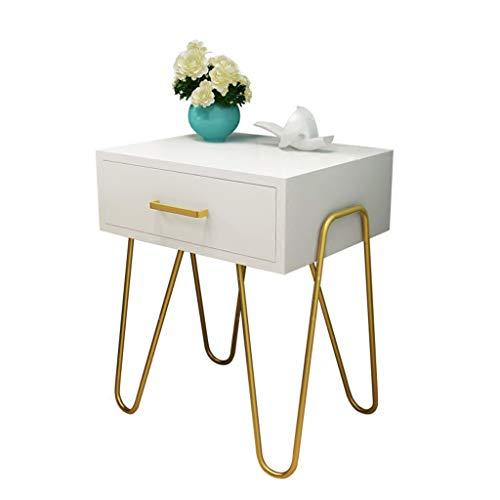 HappyL Nachttisch Schmiedeeisen Gold Schlafzimmer einfache Lagerung Nachttisch Metall Beistelltisch, Tisch mit Lagerregal, stabile und robuste Konstruktion, einfache Montage Nachttisch