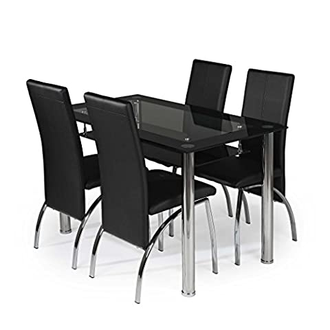 MODERNIQUE® Glass Dining Table and 4 Chairs set, Table size 120 cm with faux leather thick foam padded Chairs with Chrome Frame Available in Black (120 CM,