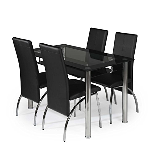 MODERNIQUE® Black Border Glass Dining Table 105 cm with Shelf and 4 Chairs, Faux Leather Chairs and Matching Frame Table and Chrome Chairs Set