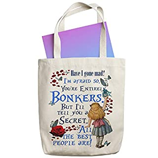 Alice in Wonderland Canvas Tote Bag Shopper Reusable Grocery Bonkers Shopping Bag KT01