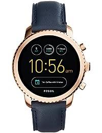 FOSSIL Montre connectée Explorist / Smartwatch homme étanche en cuir bleu marine - Compatibilité iOS & Android - Coffret montre avec son chargeur