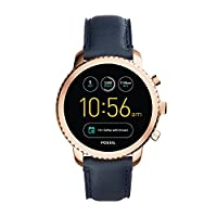FOSSIL Gen 3 Smartwatch Q Explorist Navy Leather / Men's Smartwatch Compatible with Android and iOS - Activity Tracker, Smartphone Notifications, Water resistant