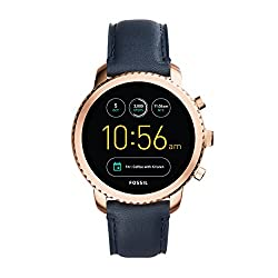 Fossil Gen 3 Smartwatch Q Explorist Navy Leather | Men's Smartwatch Compatible With Android & Ios - Activity Tracker, Smartphone Notifications, Water Resistant