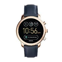 Fossil Herren Smartwatch Q Explorist 3. Generation - Leder - Dunkelblau | Klassische & Elegante Smartwatch Im Vintage Design Mit Diversen Funktionen | Für Android & Ios