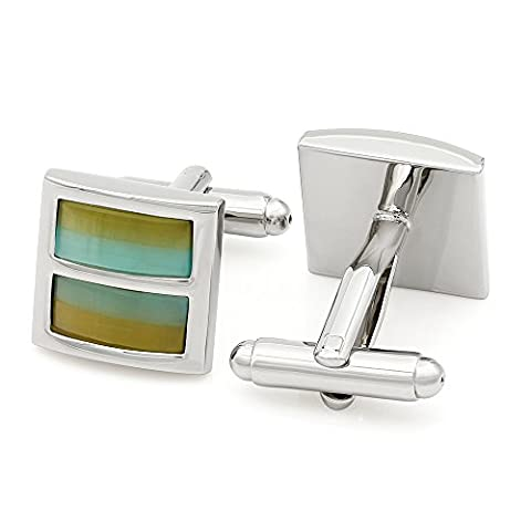 Kemstone Silver Tone Double Color Opal Cufflinks