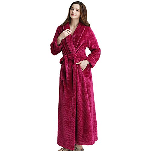 WEII Herbst Und Winter Damen Cardigan Bademäntel Casual Fashion Pyjamas Dicke Flanell Nachthemd Home Kleidung,Rose rot,XL - Rose Flanell-pyjama