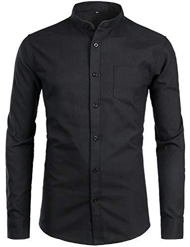 ZEROYAA Herren Hemd Casual Solid Slim Fit Long Sleeve Button Down Oxford Hemd mit Tasche - Schwarz - X-Groß (Collar Arbeiten Banded Shirt)