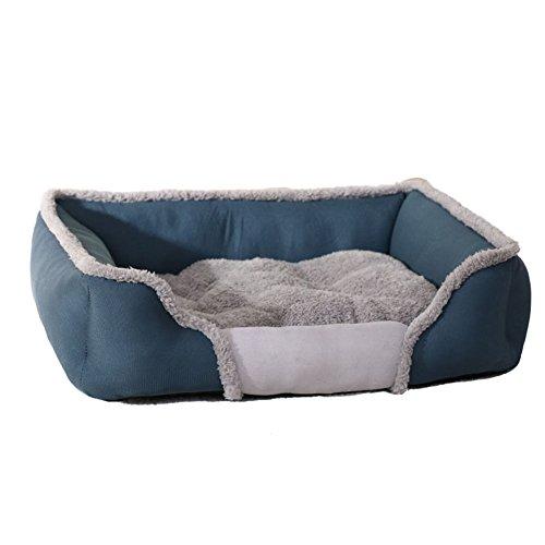 Delidraw Herbst Winter Haustier Hund Bett Heizung Weich Wolle Kissen Waschbar Welpen Hund Katze Warm Kennel Pets Nest Basket Medium blau (Kennel Medium Hund)