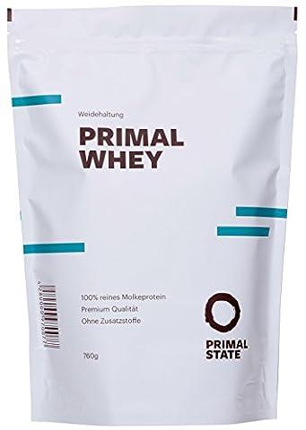 Eiweißpulver neutral | PRIMAL WHEY Proteinpulver | 100% reines Molkeprotein aus irischer Weidehaltung | Low Carb Protein zur Erhaltung & Zunahme der Muskelmasse | Geschmacksneutral und ohne Zusatzstoffe | 760g