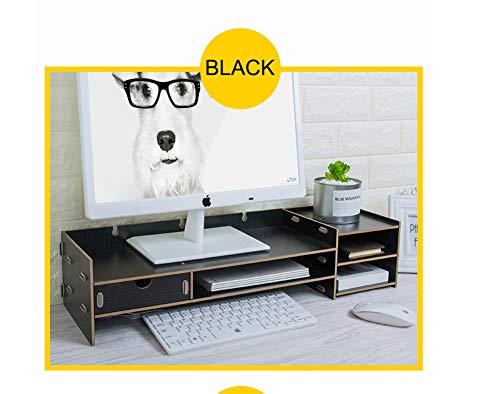 SanQing Minimalism Monitor Stand, Desktop Monitor Riser, TV-Ständer Desk Organizer Stauraum für Tastatur und Maus,Black