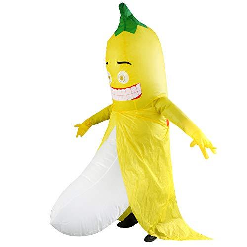 Decdeal Aufblasbares Kostüm Banane Erwachsen Fatsuit Lüfter Gebläse für Weihnachten Halloween Fasching Cosplay Karneval ()
