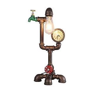 Health UK Table lamp- Loft Industrie Antike Rusty Tischlampe Mit Uhr Schlafzimmer Studie Eisen Steampunk Vintage Sanitär Rohr Bar Cafe E27 Licht Schreibtischlampe Welcome