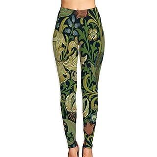Ewtretr Yoga Pilates Hosen Fitnesshose für Damen, Green Flower Florets Printed Yoga Pants for Women Tummy Control Workout Running Stretch Yoga Leggings