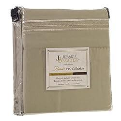 Jessica Sanders Premier 1800 Series 4pc Bed Sheet Set - King, Sage Olive Green,  - Jessica Sanders Embroidery