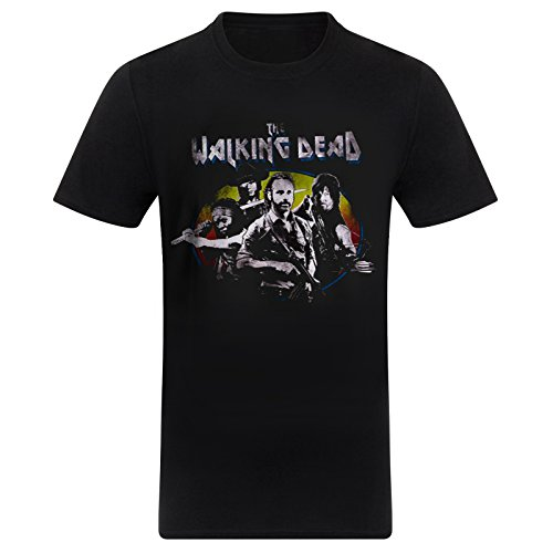 Official The Walking Dead Vintage Group T Shirt (Schwarz) - X-Large Dixon Vintage-print