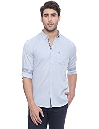 Turtle Men's Powder Blue Slim Fit Casual Shirt With Designer Elbow Patches