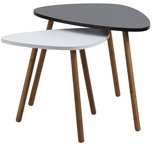 Lot de 2 tables en bois et MDF laqué noir et blanc -PEGANE-