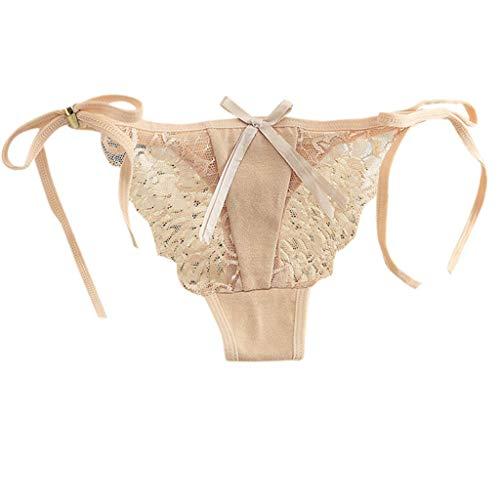 VIccoo Womens Sexy Low Waist Dessous Unterwäsche Volltonfarbe Seite Krawatte Bowknot Thong Cotton Sheer Blumenspitze Patchwork T-String Höschen - Frische Farbe