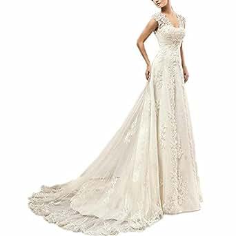 EVANKOU Damen Lang Spitze Brautkleider Hochzeitskleid Vintage mit Träger Rückenfrei Elfenbein Größe 32