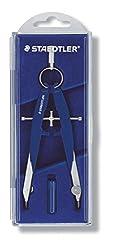 Staedtler Mars Comfort 556 00 Zirkel, hohe Qualität mit Spindelführung Mitteltriebspindel, exakt und präzise, blau-silber, stabiles Etui mit Klappdeckel