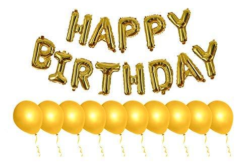 rthday Luftballons, groß, 40,6 cm, aufblasbares Banner Happy Birthday, inkl. 10 goldfarbenen Latex-Luftballons, Goldfarbene 3D-Mylar-Folie, perfektes Set für Kinder und Erwachsene ()
