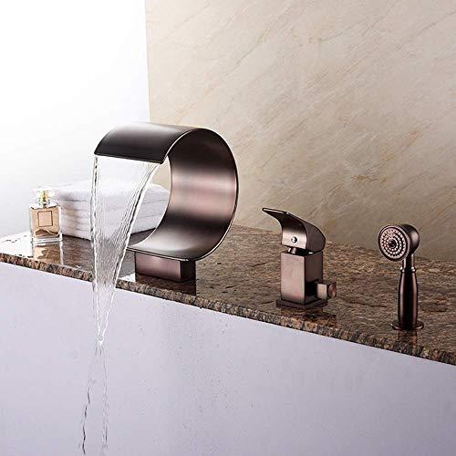 WZXtaps Tippen Sie Copper Handbrause Öl rieb Bronze-Finish Wasserfall Badewanne Hahn-Badezimmer-Badewannen-Hahn-Messingkörper Einhebel-Controlling Edelstahl-Schwenker-Tülle-Wannen-Mischer-Hahn Maximal