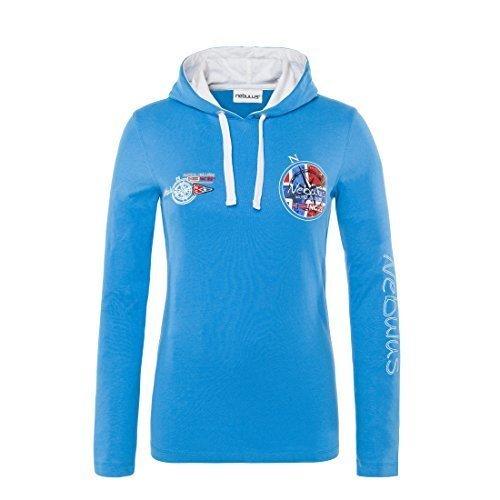 T194-Nebulus felpa con cappuccio camicia John, camicia a maniche lunghe, camicia lungo, Polo lungo, Polo lungo, Womens malibu-blue, M/UK 10
