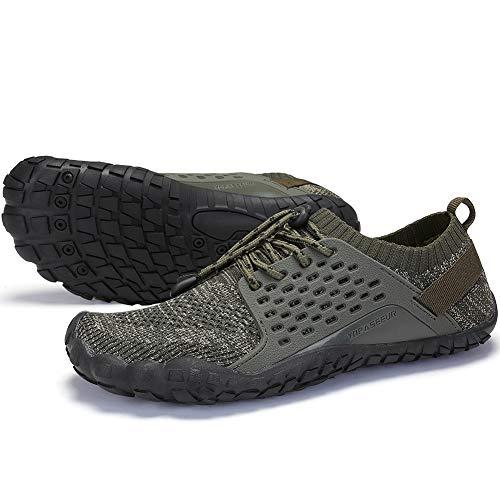 Oberm Herren Minimalistische Trail Laufschuhe Wide Toe Box Barfuß Sneaker Wasserschuhe, Grn (grün), 45 EU