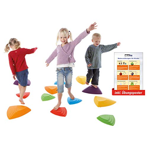 Fluss-Steine-Set für Kinder, Balance Spiel, Balancierspiel, Koordination, 6-tlg. inkl. Sport-Tec Übungsposter