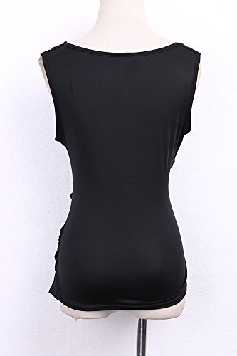 Faithtur Sexy Women V Neck Sleeveless Ruched Tank Top Blouse Black