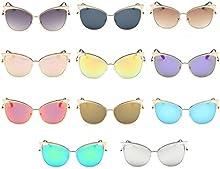QHGstore Unisex Gato Color de ojos Marco de pel?ªcula Gafas de sol de las mujeres de la protecci?®n UV400 Eyewear